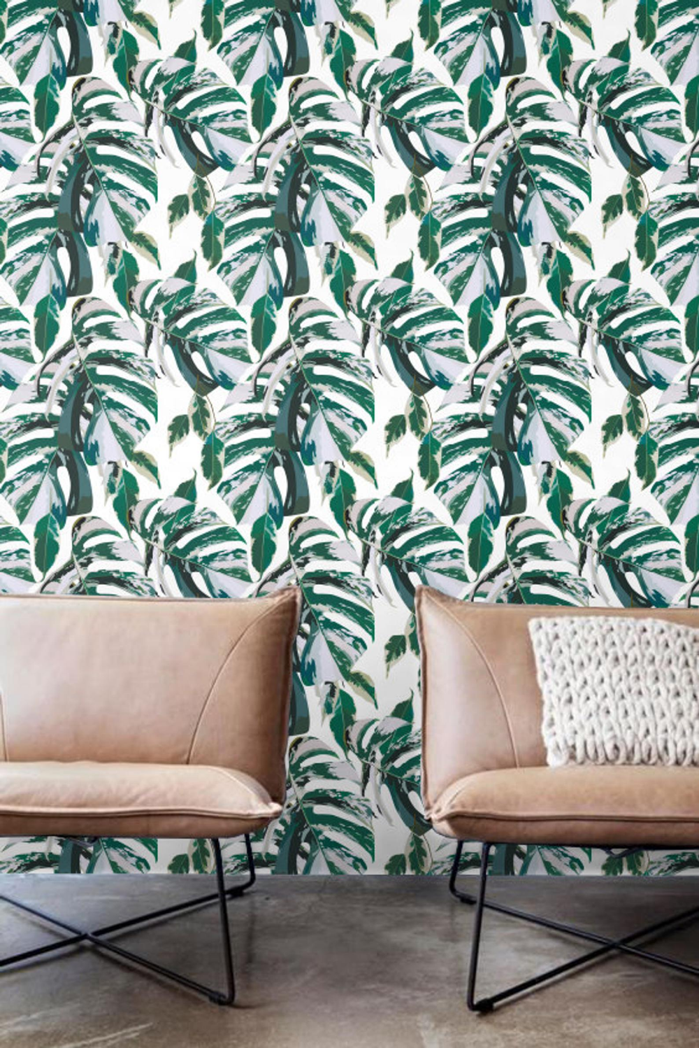 Marble monstera Wallpaper, Removable Wallpaper, Self