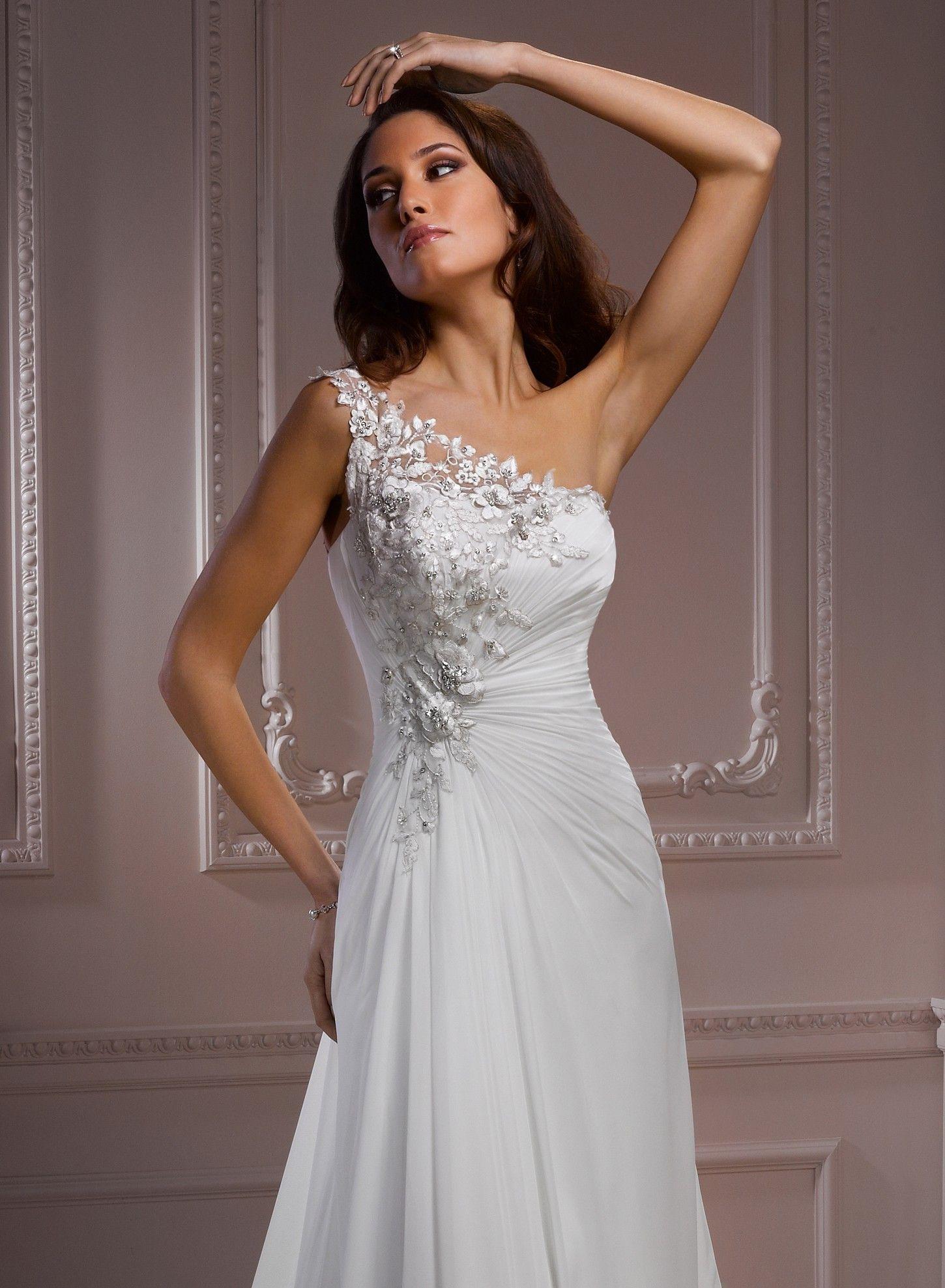 chiffon-one-shoulder-wedding-dress | Chiffon Wedding Dress ...