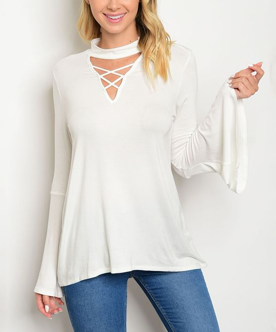 Ivory Strap-Accent Keyhole Tunic