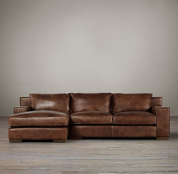 Capri Leather Left Arm Sofa Chaise Sectional