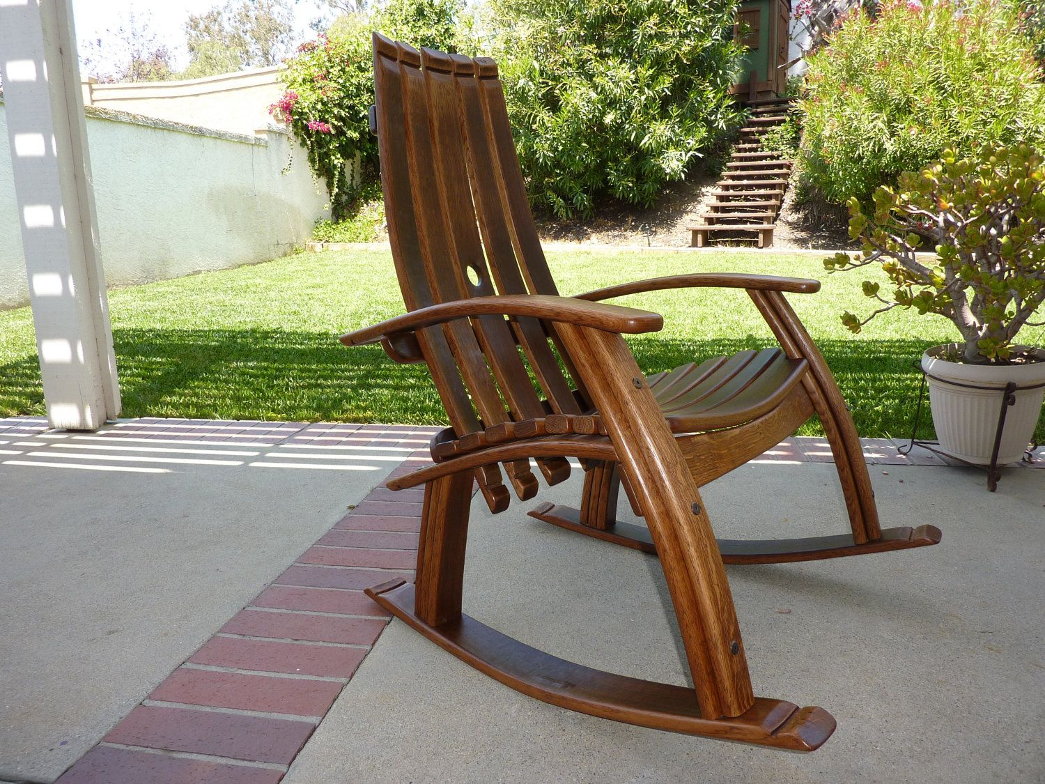 Wooden rocking chair plans - Wine Barrel Rocking Chair 1 250 00 Via Etsy