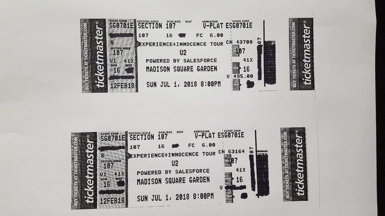 #tickets U2 Sunday July 1, Madison Square Garden, NYC 8PM   2 Excellent