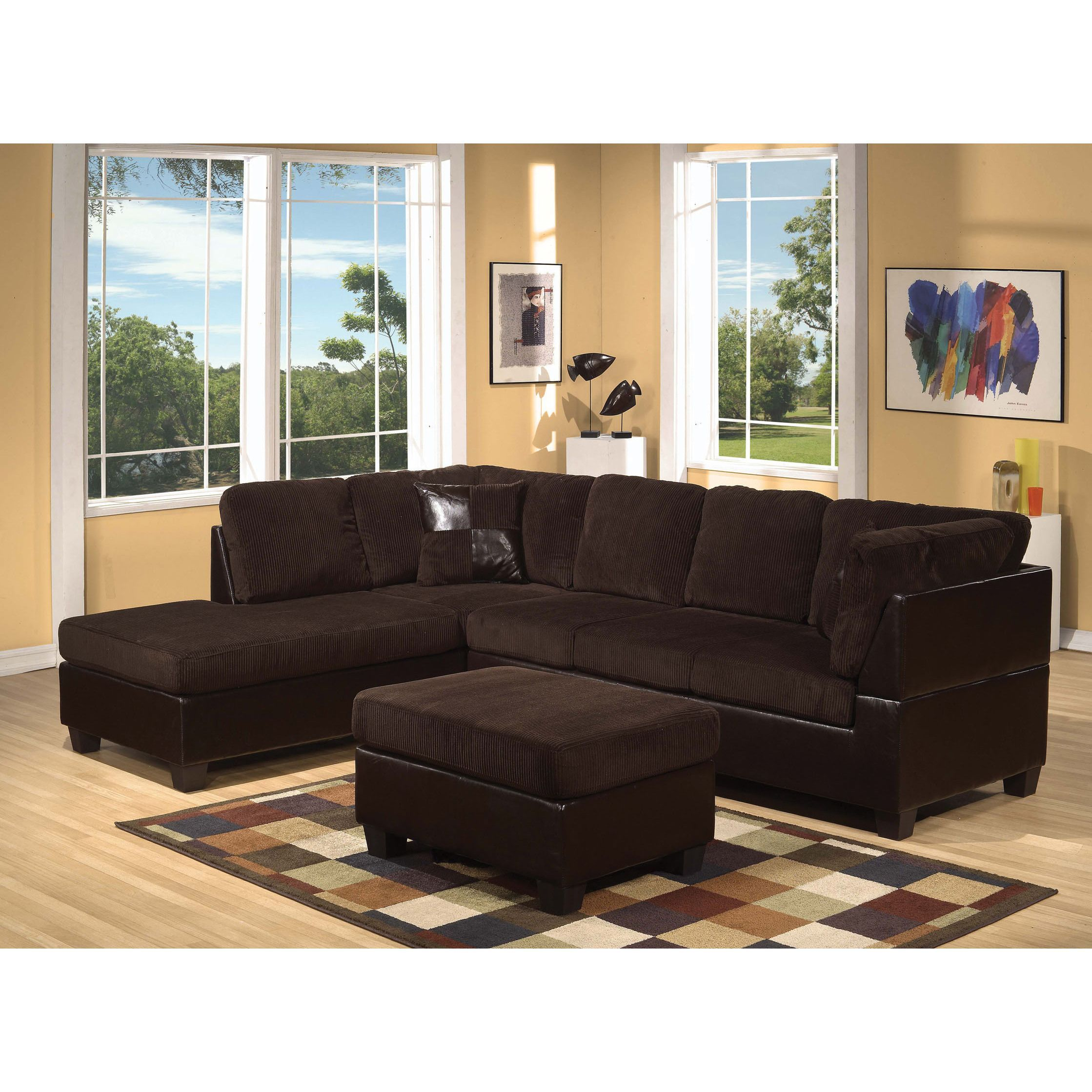 Connell Corduroy Espresso Sectional Sofa by Acme