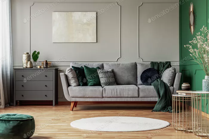 Stylish Emerald Green And Grey Living Room Interior Design With