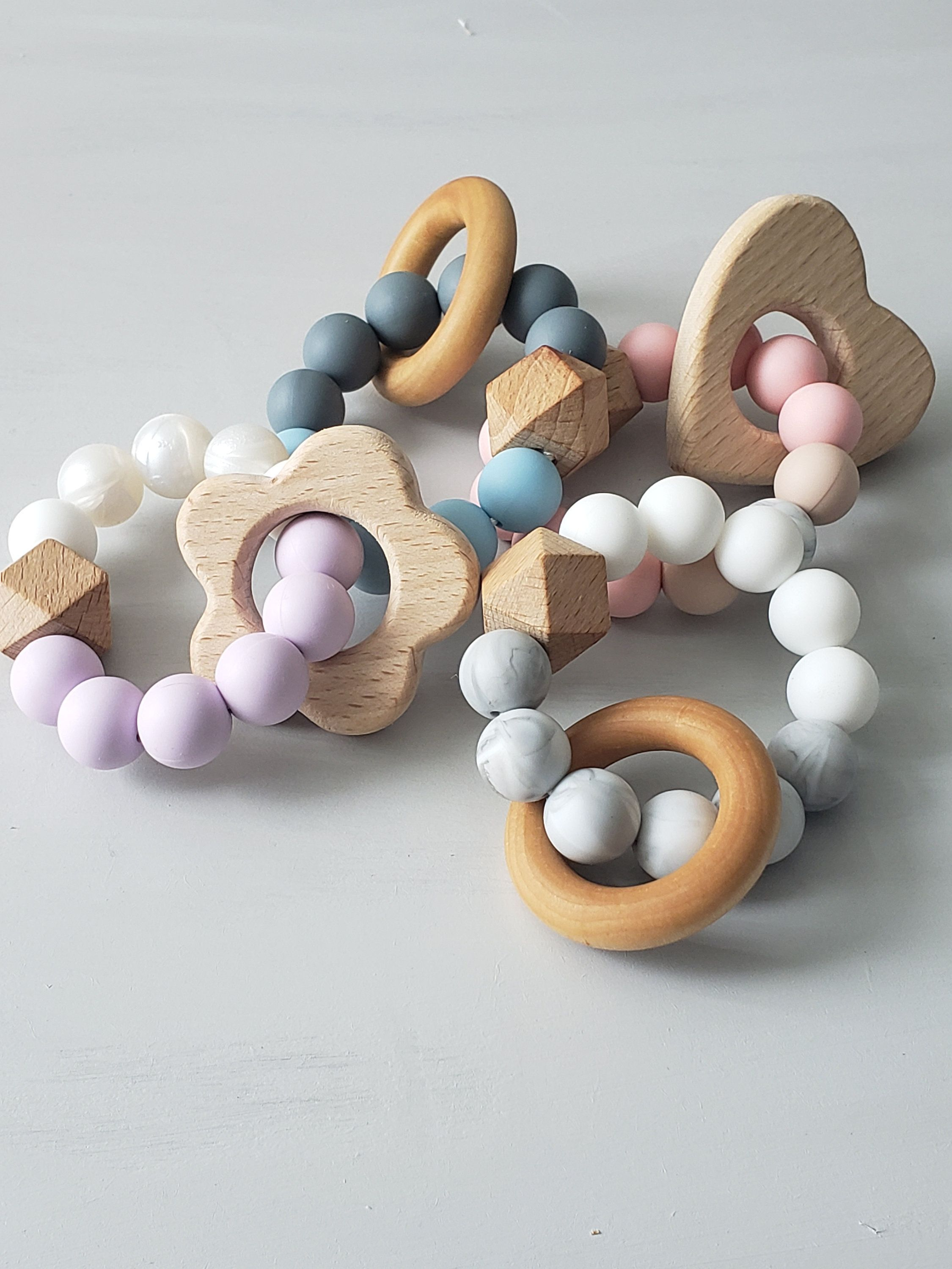Handmade Wooden Baby Teether Bracelet Silicone Beads Teething Ring Infant Toys