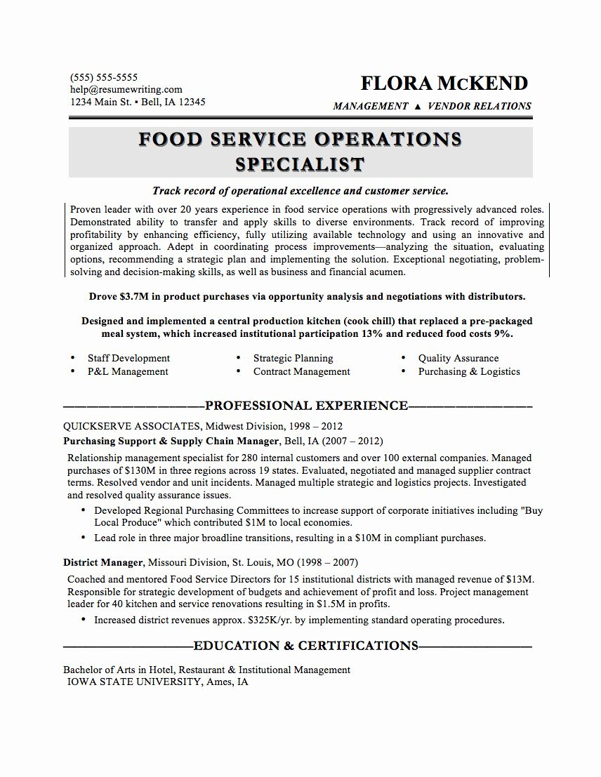 Food Service Manager Resume Beautiful Sample Resumes