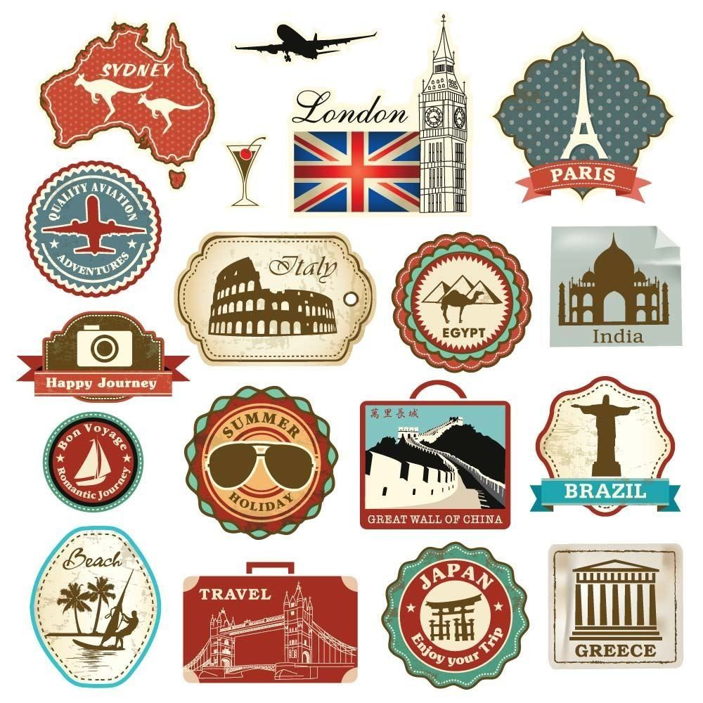 Retro Vintage Travel Suitcase Stickers   Set Of 18 Luggage Decal Labels