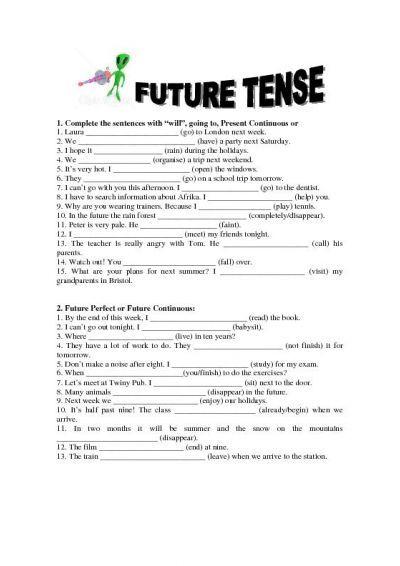 Future Simple Tense Worksheet Grammer Pinterest Future Tense