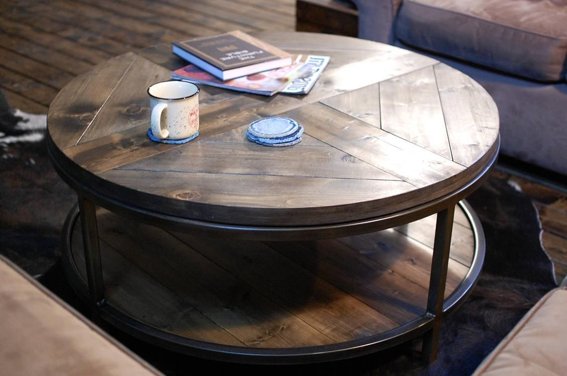 Industrial Round Wood Coffee Table Two Tier Table Wood Etsy Coffee Table Wood Round Wood Coffee Table Wooden Coffee Table [ 756 x 1140 Pixel ]