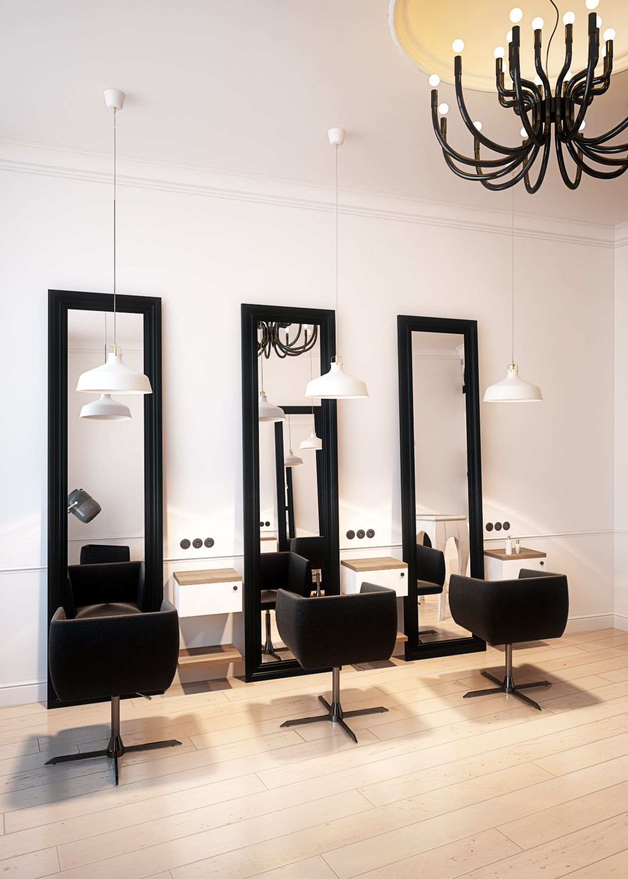 Hairdresser Interior Design In Bytom Poland Archi Group Salon Fryzjerski W Bytomiu Salon Interior Design Beauty Salon Interior Beauty Salon Decor