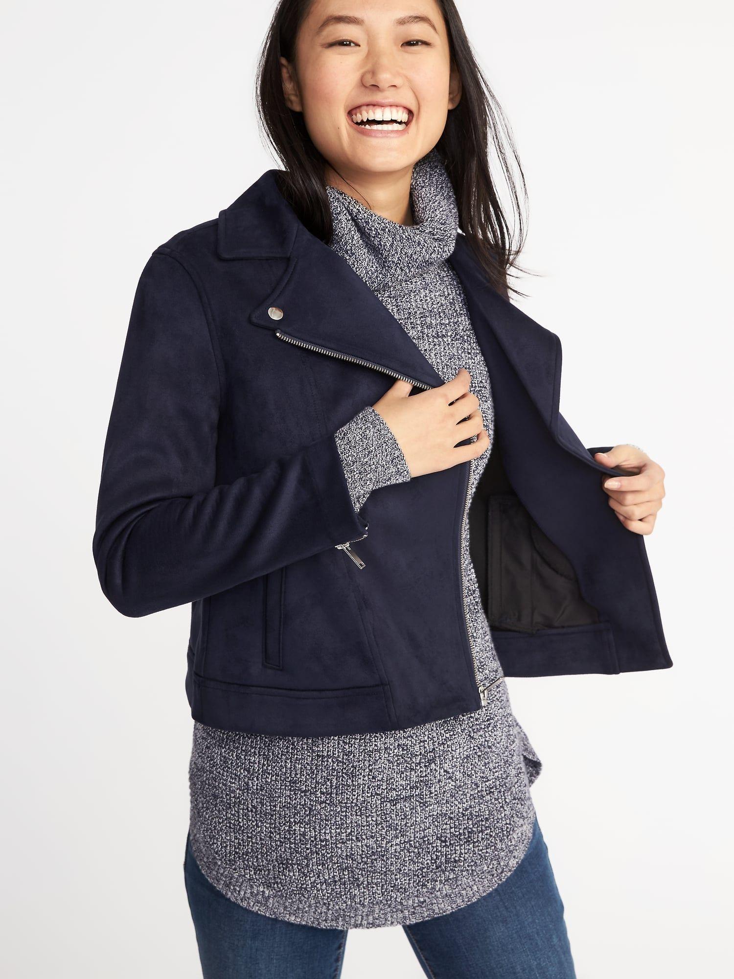 1750efa0ae Sueded-Knit Moto Jacket for Women in 2019