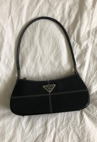 Vintage Prada Baguette Bag Black White Ventimiglia Asos Marketplace In 2020 Bags Fashion Bags Purses