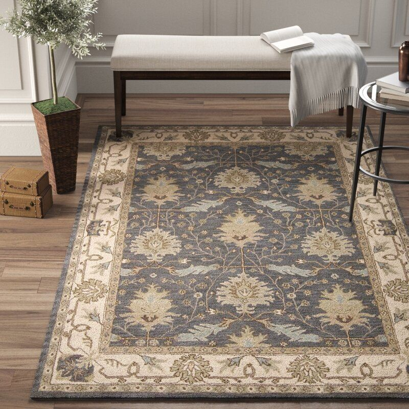 Constance Oriental Hand Tufted Wool Blue Area Rug Reviews Birch Lane In 2021 Blue Area Rugs Area Rugs Blue Area