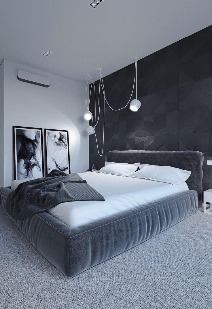Imagine sleeping in this minimalist black, white, & gray ...