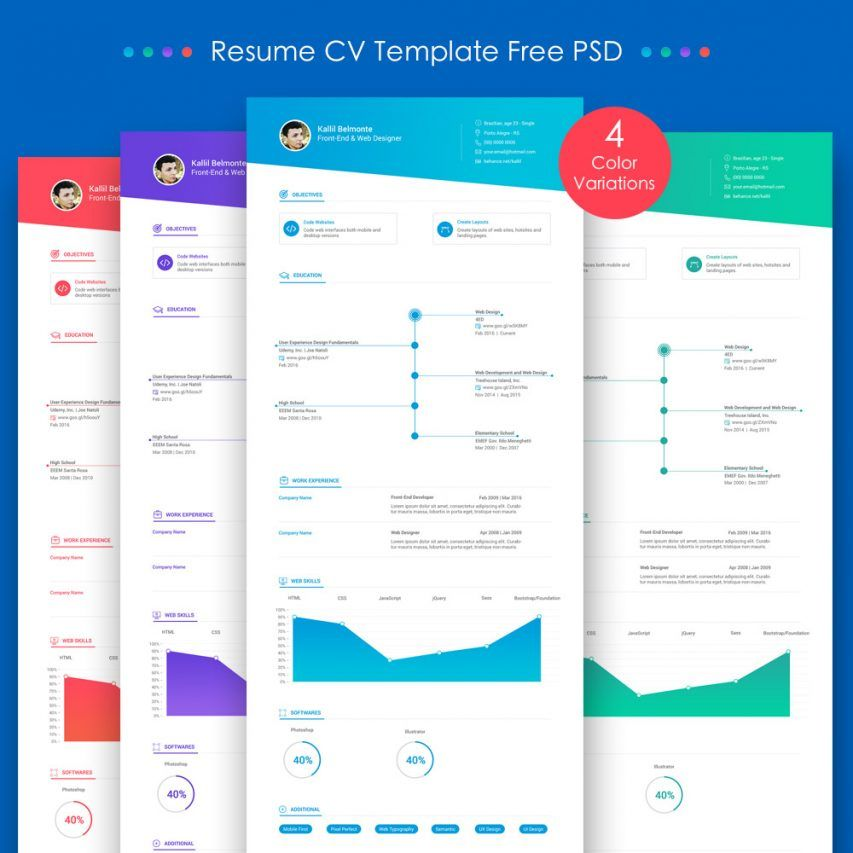 Free Resume CV Template Free PSD #freebies Resumes Pinterest