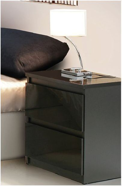 Best Lucia Black Gloss Bedside Cabinet Lamp Table Unit Bedroom 640 x 480