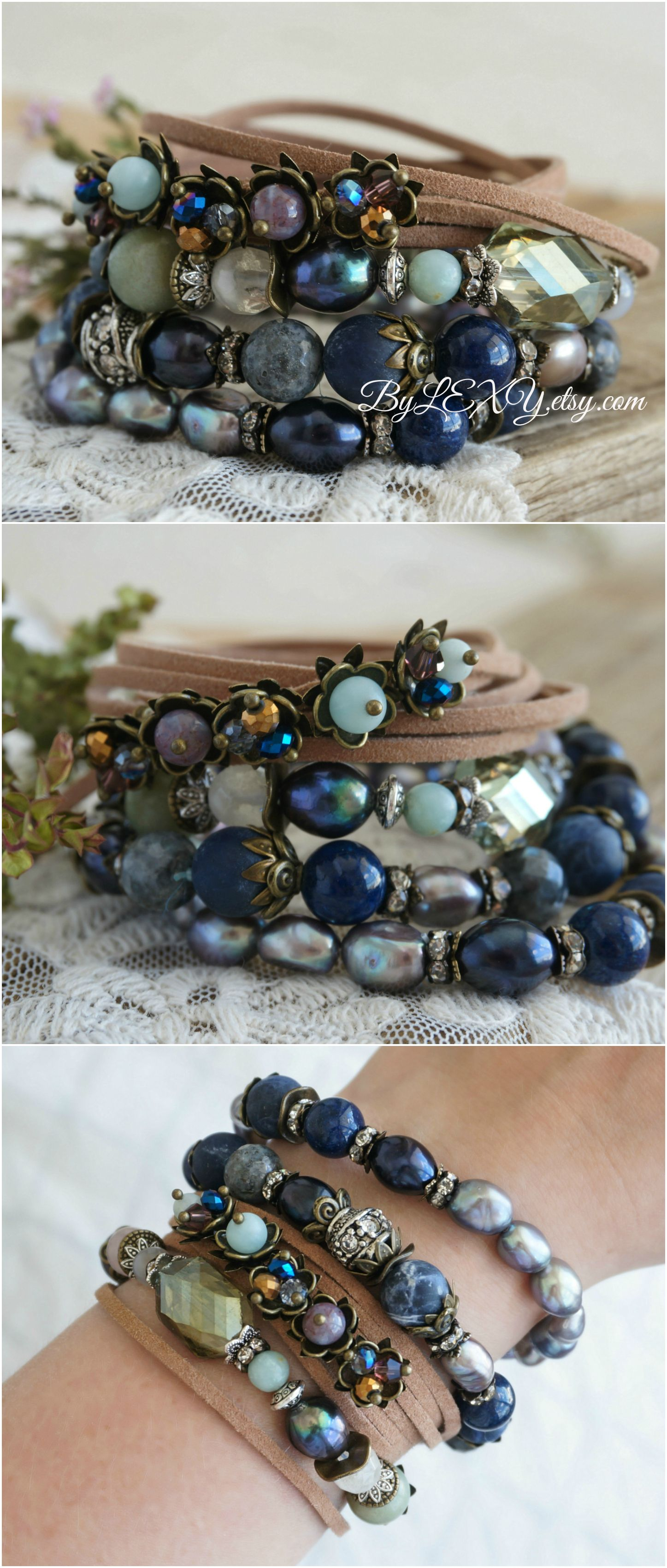 pictures DIY Boho-Chic Leather Bracelet With Beads And Chain