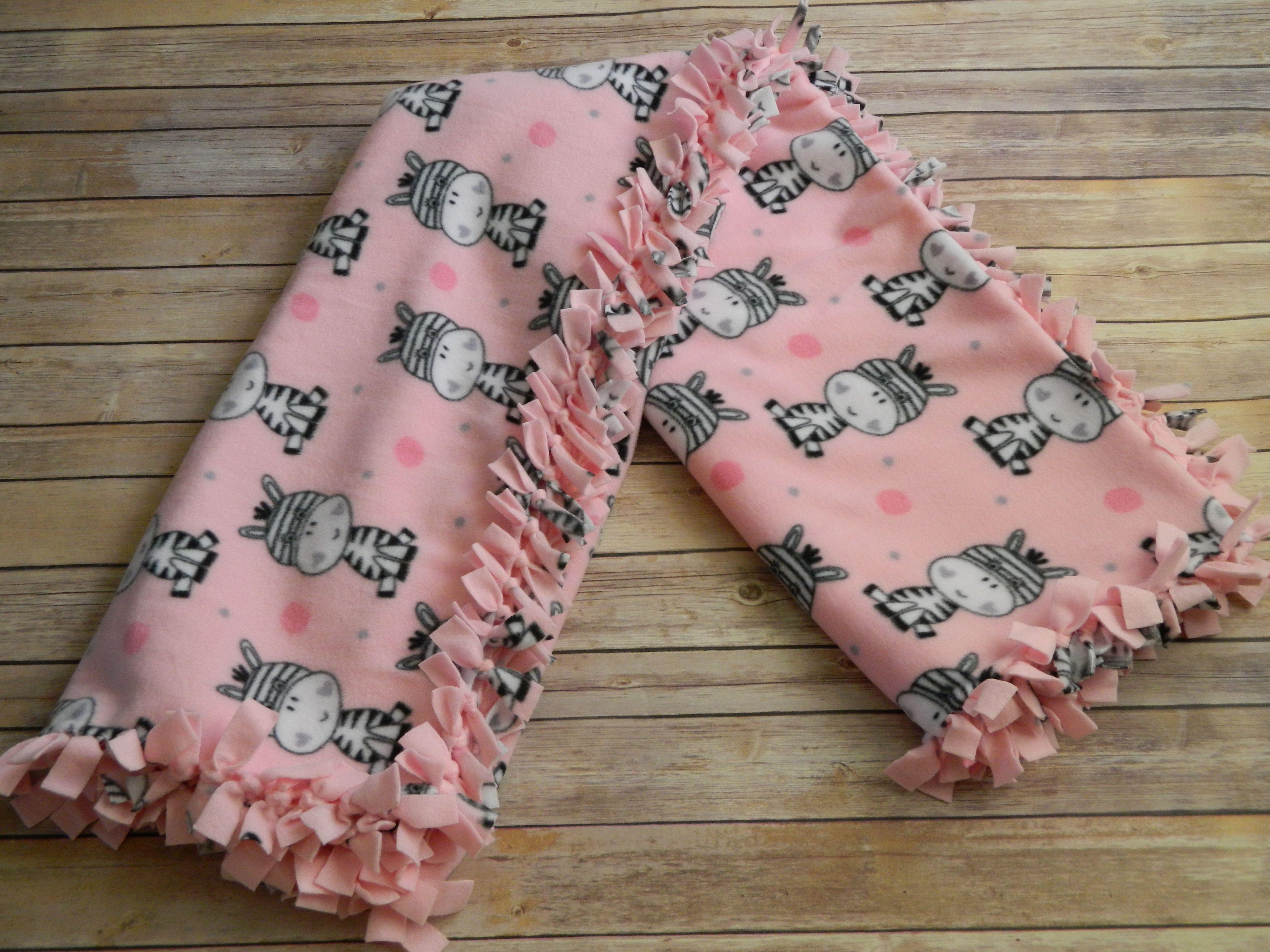 Baby zebras on pink design antipill nosew blizzard fleece blanket