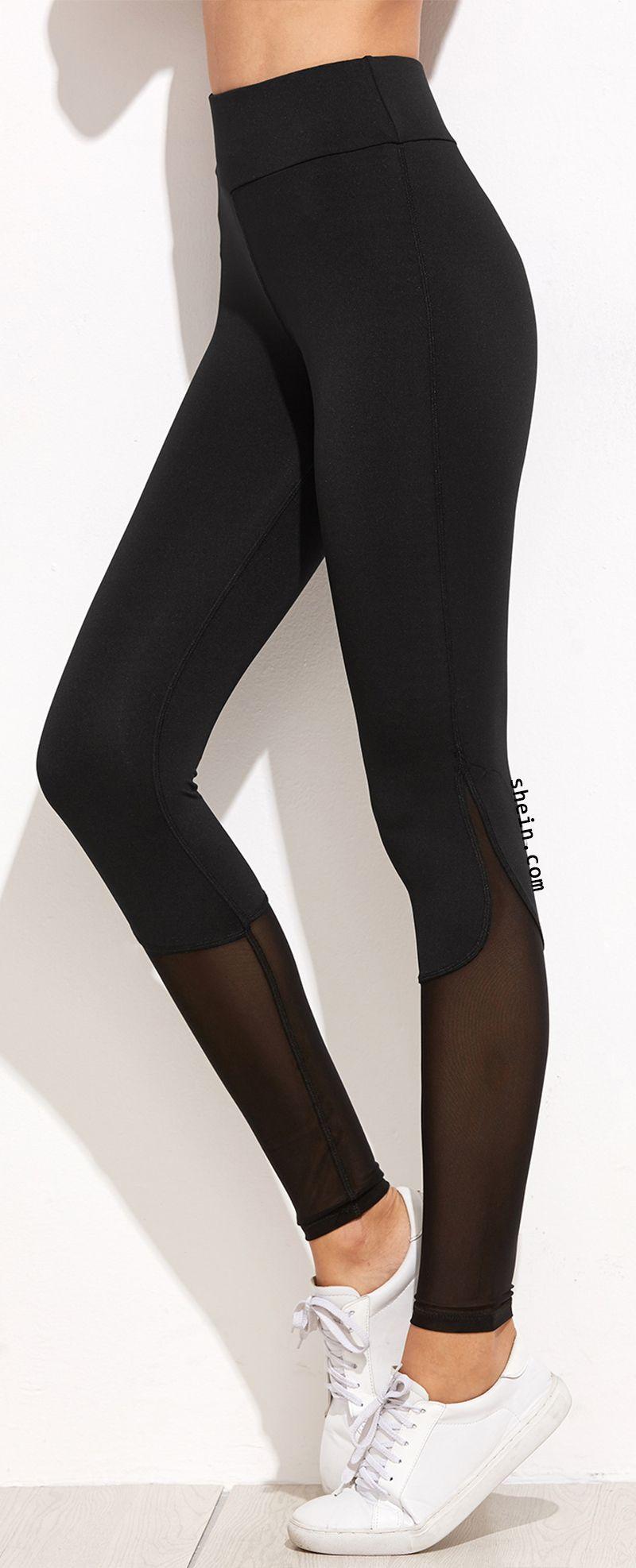 88bdfdd3c1c3e Black mesh workout leggings. Comfortable material & great fit ...