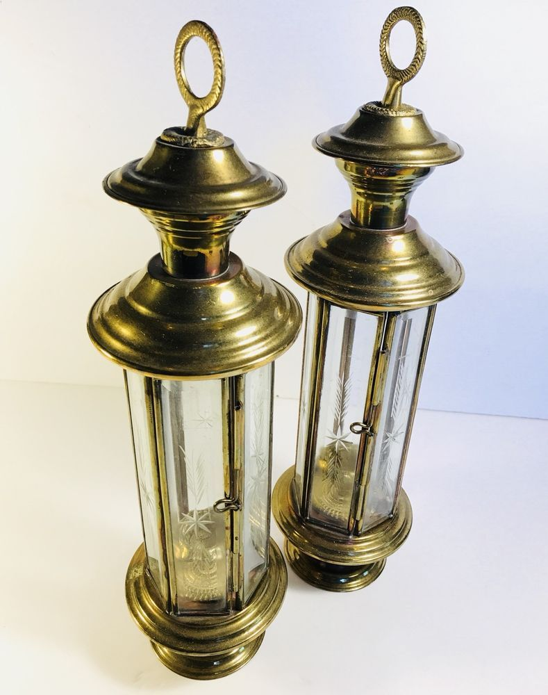 563e2358fc Vintage Lantern PAIR Aged Brass Etched Glass Tall Candle Holders Mid  Century | eBay