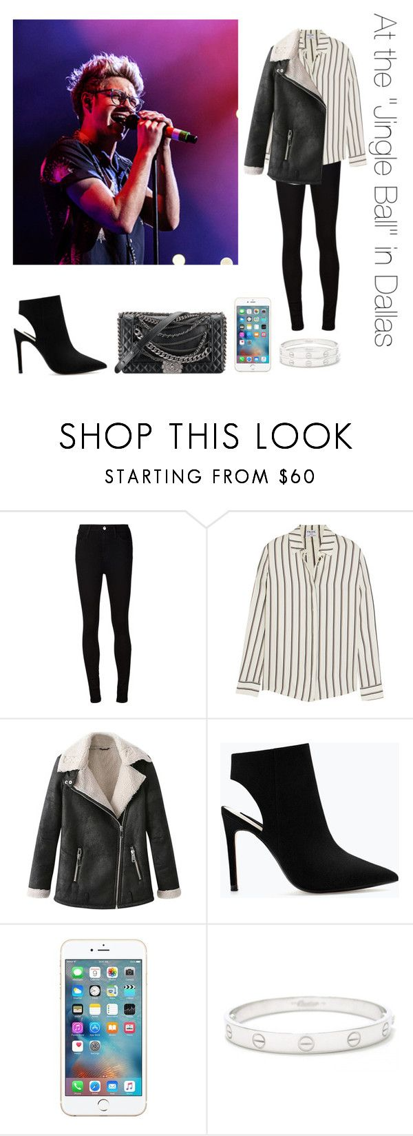 """""""At the """"Jingle Ball"""" in Dallas"""" by thetrendpear-eleanor ❤ liked on Polyvore featuring AG Adriano Goldschmied, Frame Denim, Chanel, Zara and Cartier"""