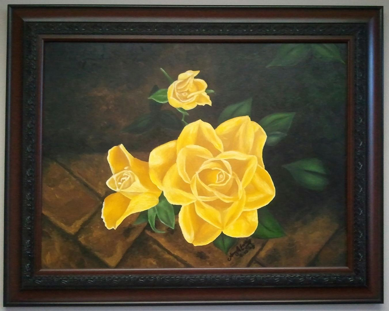 Three Yellow Roses By Amy Reagan Oil Painting On Canvas