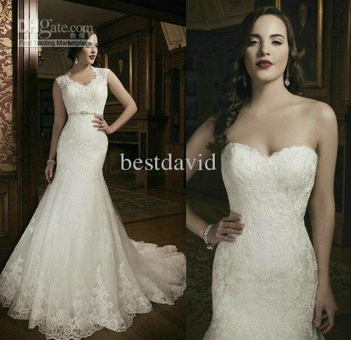 New Lace Two-Piece Mermaid Wedding Dress 2013 Tulle Sweetheart Cap Sleeves Beaded Chapel Train 8689