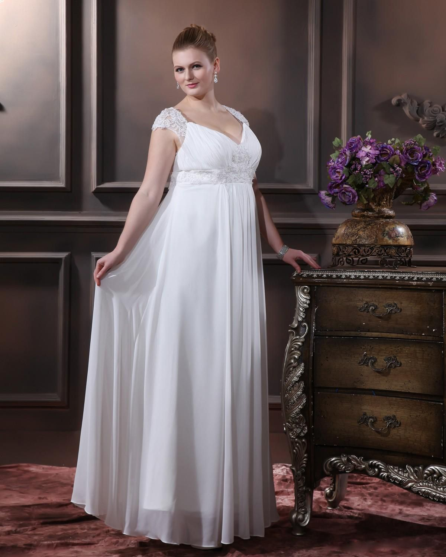 Elegant Sweetheart Floor Length Chiffon Plus Size Wedding Dress