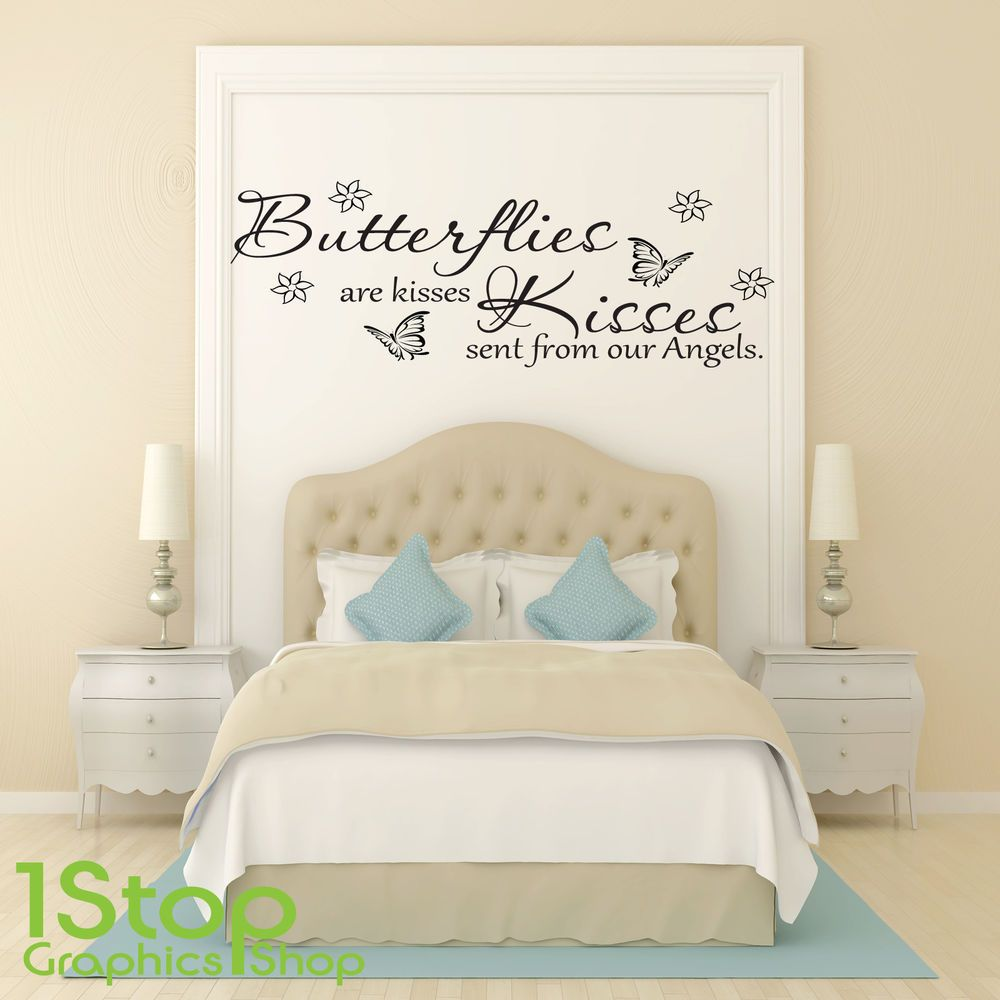 Butterflies are kisses wall sticker quote bedroom home wall art