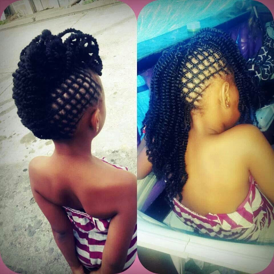 Cute mohawk hairstyle that can be worn up or down. Love the criss cross braiding on the side