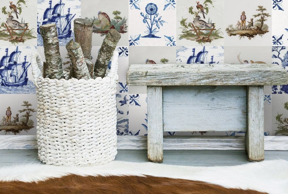Oud Hollandse Tegeltjes : Vintage tegelbehang hip tegeltjes behang. een combinatie van