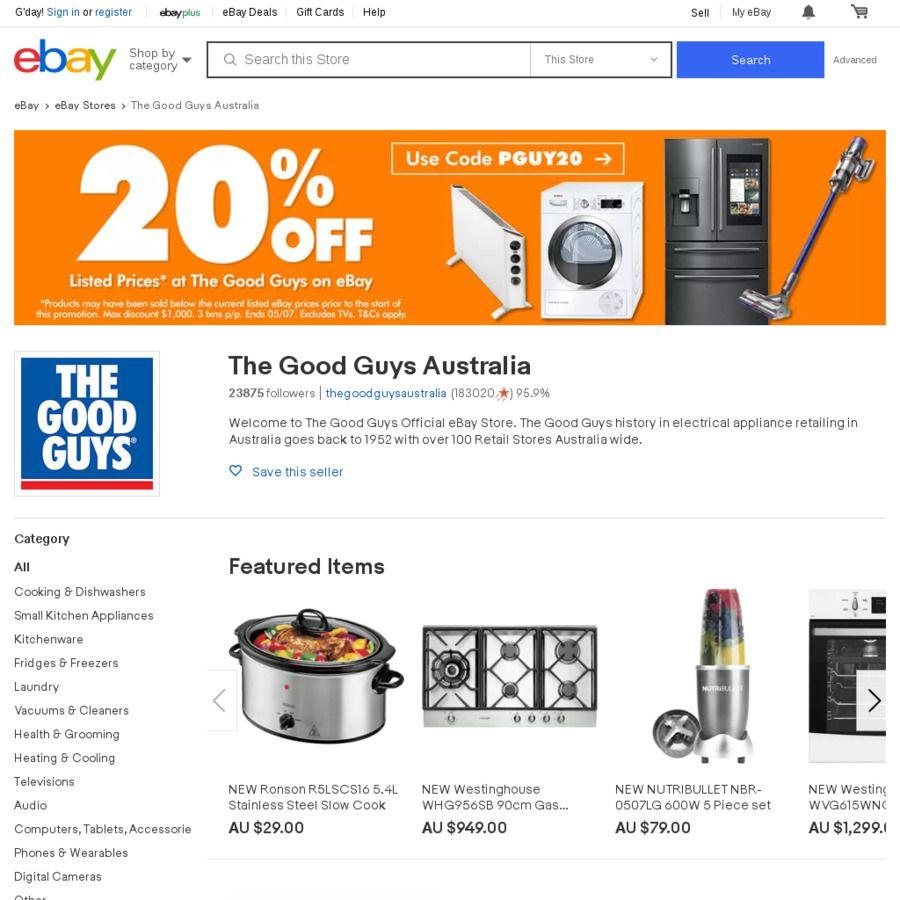 20 Off The Good Guys Ebay Excludes Tvs A Good Man Ebay