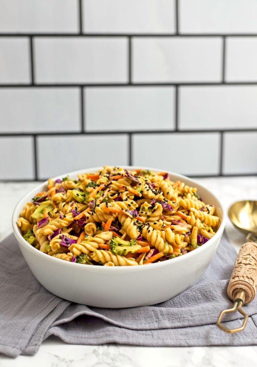 3 Step Thai Peanut Pasta Salad Recipe In 2020 Pasta Salad Pasta Dishes Filling Recipes
