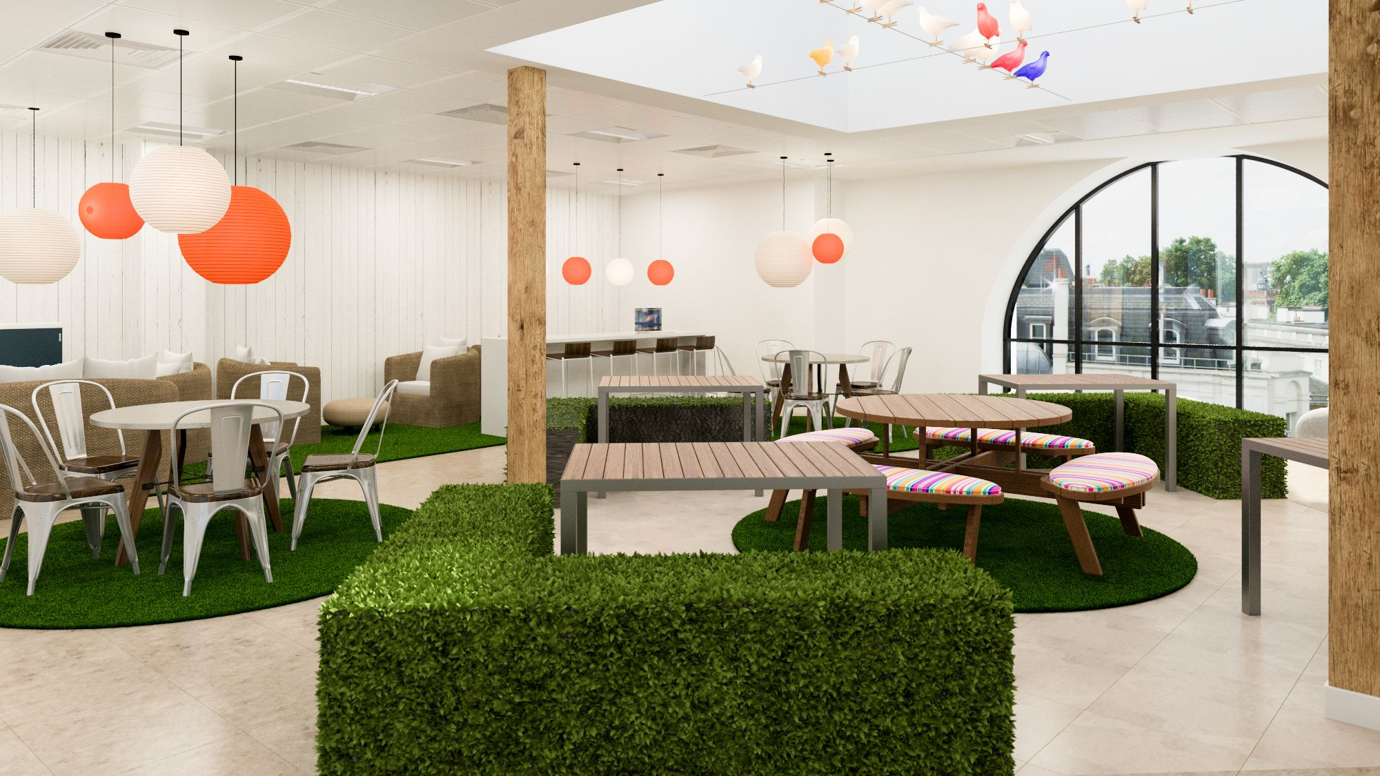 picnic office design. Office Design Visual For A London-based TV Production Company - Featuring Hedge Seating, Pigeon Lights, Picnic Tables And Games Area Pinterest