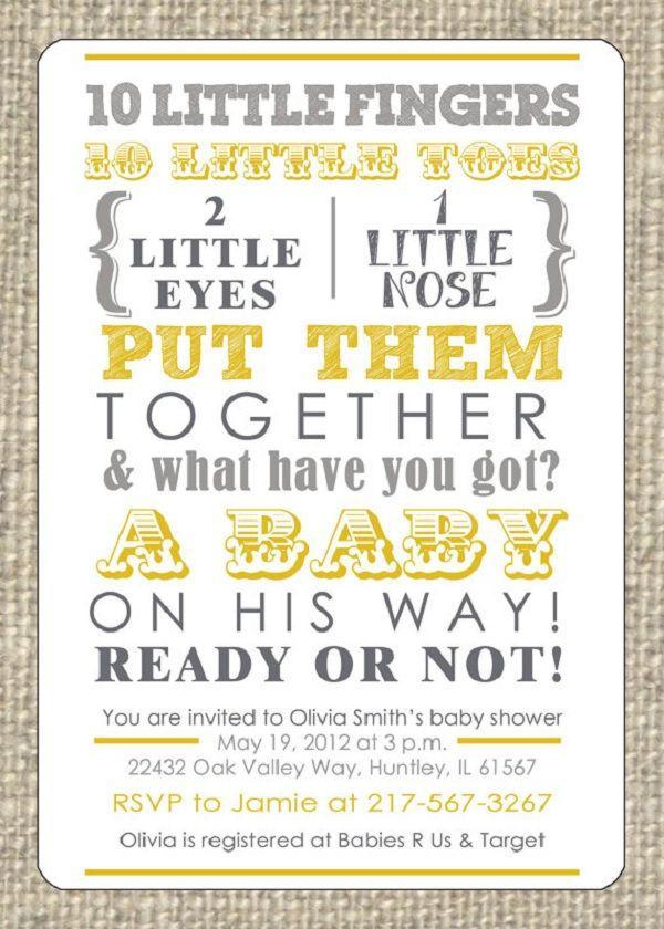 Baby Shower Invitation Baby shower invites Pinterest – Baby Gender Announcement Wording