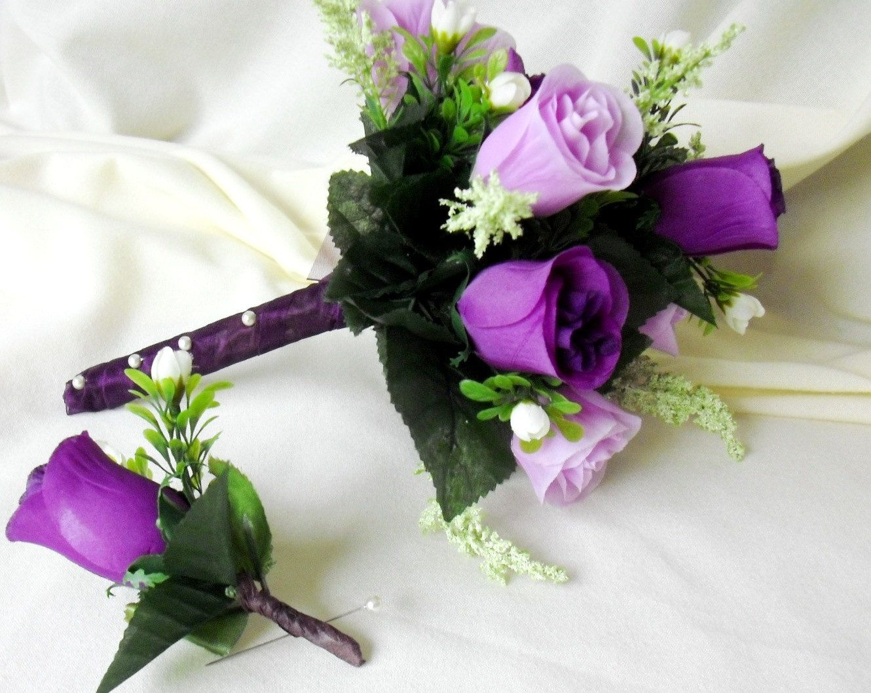 Silk Bridal Bouquet Purple Lavender Roses Wedding Flowers Groom Boutonniere Set Brides Maid Ready To Ship