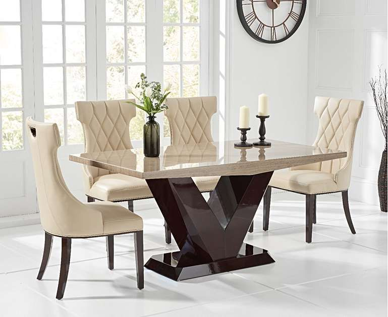 Verbier 160cm Brown V Pedestal Marble Dining Table With Freya Chairs With Images Dining Table Marble Marble Top Dining Table Marble Dining