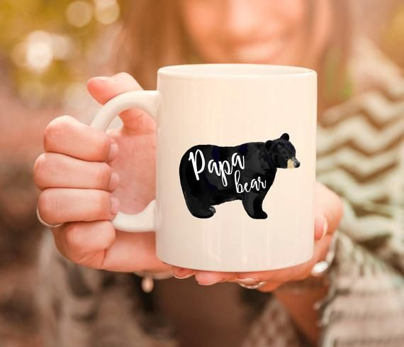 Papa bear mug. Father's day mug. Baby announcement gift. Father to be gift. New dad gift. Pregnancy reveal mug. Baby shower mug. Cute mug.