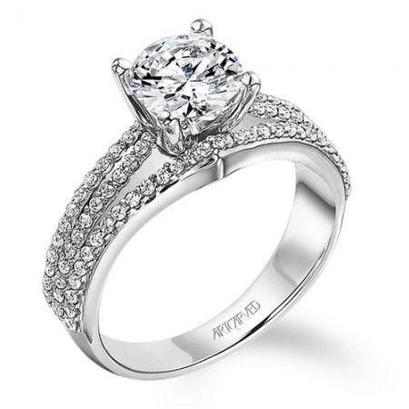 Triple Row Pave Diamond Engagement Ring From Artcarved Bridal Wedding Da 14k White Gold Diamond Engagement Ring Wedding Day Diamonds Diamond Engagement Rings