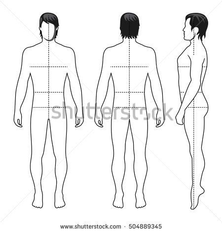 Fashion Man Full Length Outlined Template Figure Silhouette With Marked Bodys Sizes Lines Front Side Back View Vector Illustration Isolated On White