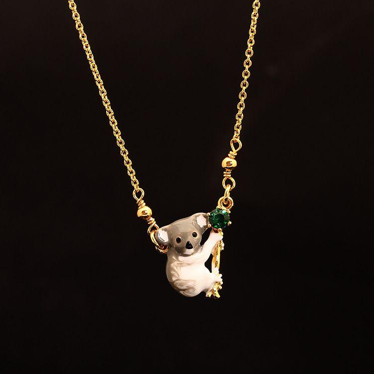 Les Nereides Lovely Animal Koala Necklace Enamel Good Quality Fashion Jewelry For Women