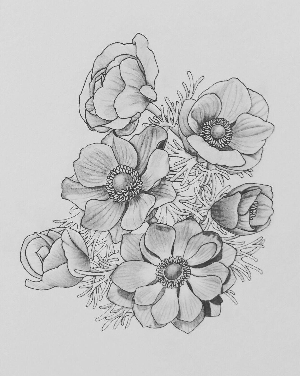 цветочные композиции картинки карандашом сначала