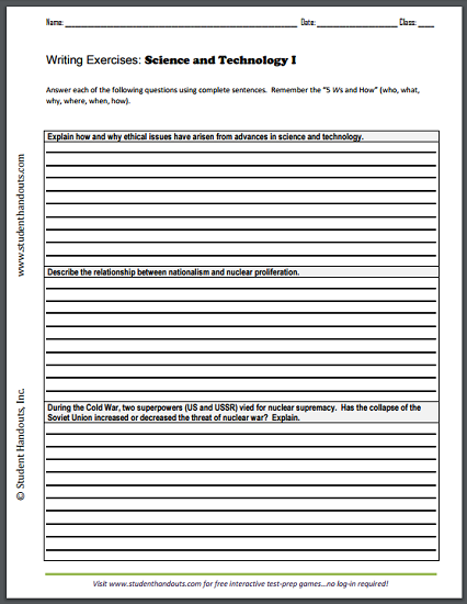Science And Technology Writing Exercises Handouts Free To Print Pdf Files Essay Questions Writing Exercises This Or That Questions