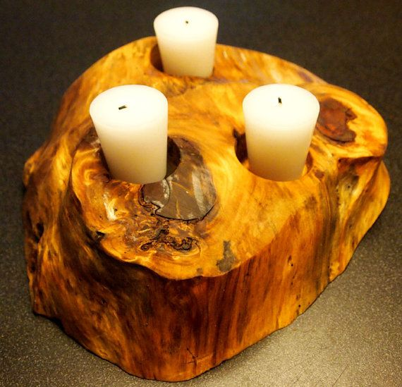 Custom Wooden Tea Candle Holder by Uniquelywood on Etsy, $40.00