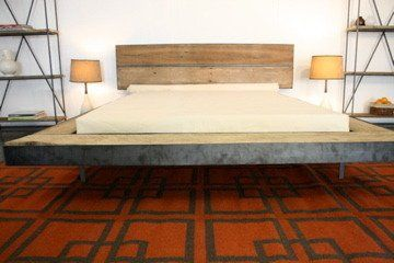 modern reclaimed wood and steel floating platform bed frame easy to put together handmade