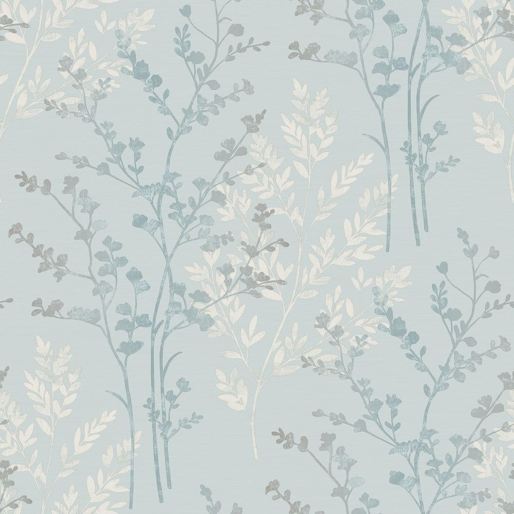 Fern motif teal wallpaper house stuff pinterest teal for Teal wallpaper
