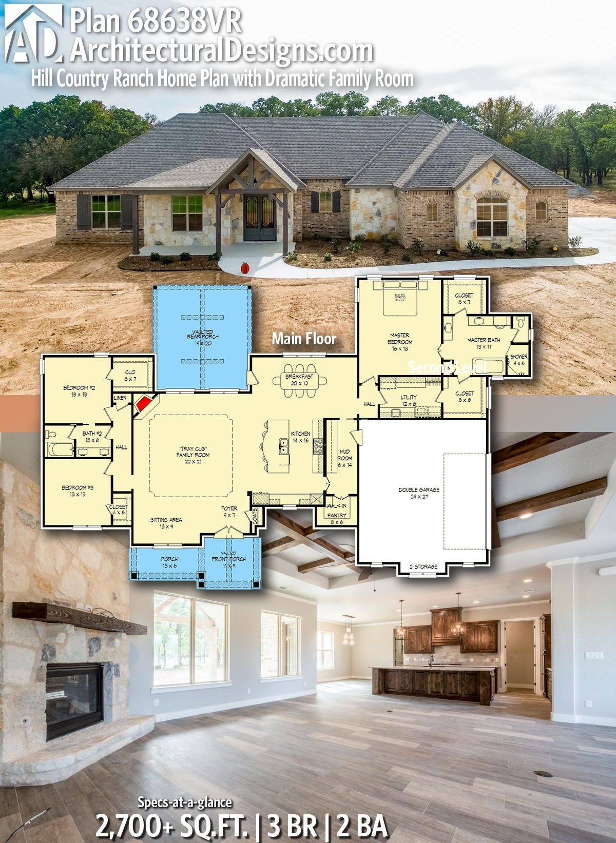 Plan 68638vr Hill Country Ranch Home Plan With Dramatic Family Room Hill Country Homes Country House Plans Ranch House Plans