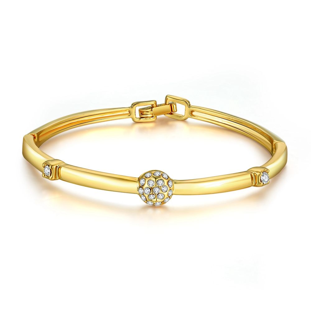 crystal gold colour bangle bracelet for women jewelry cuff
