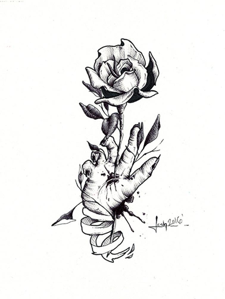 Writer S Cramp By Josh Madsen Hand Dead Rose Sketch Canvas Art