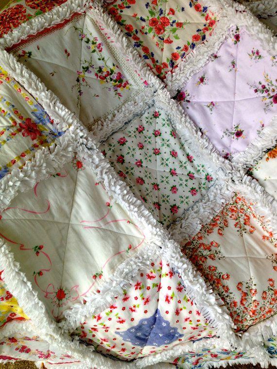 Vintage Hanky Handkerchief Rag Quilt V